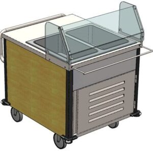 Sneeze guard option, or use flip lid covers to cover food for transport